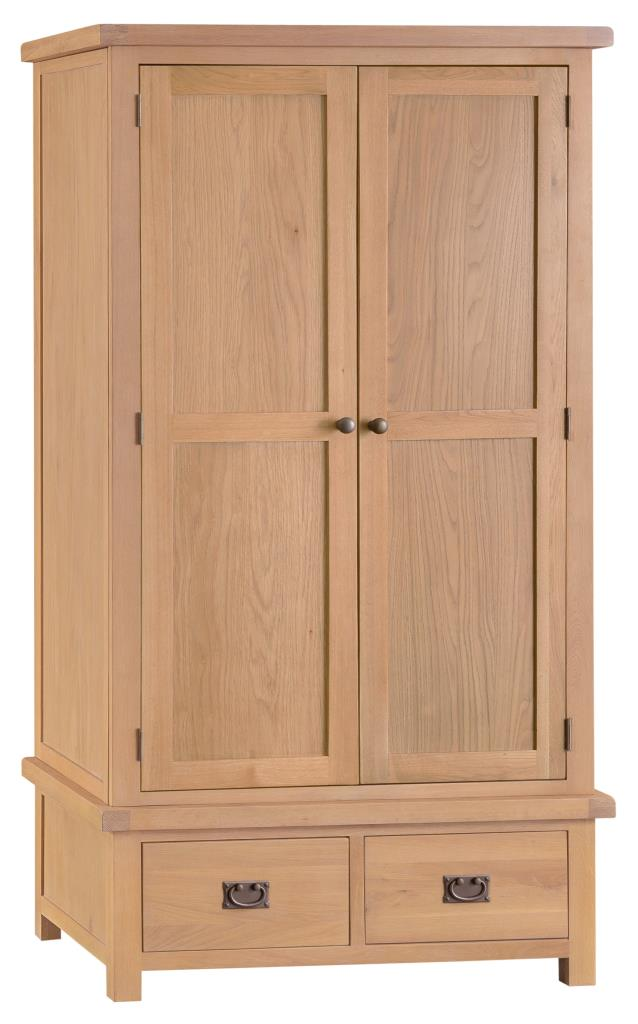Banbury Solid Chunky Wood Rustic Oak Gents Wardrobe With Drawers