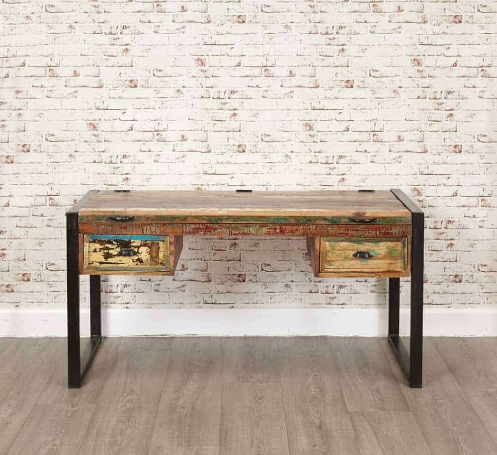 Baumhaus Urban Chic Industrial Reclaimed Wood Home Office Desk