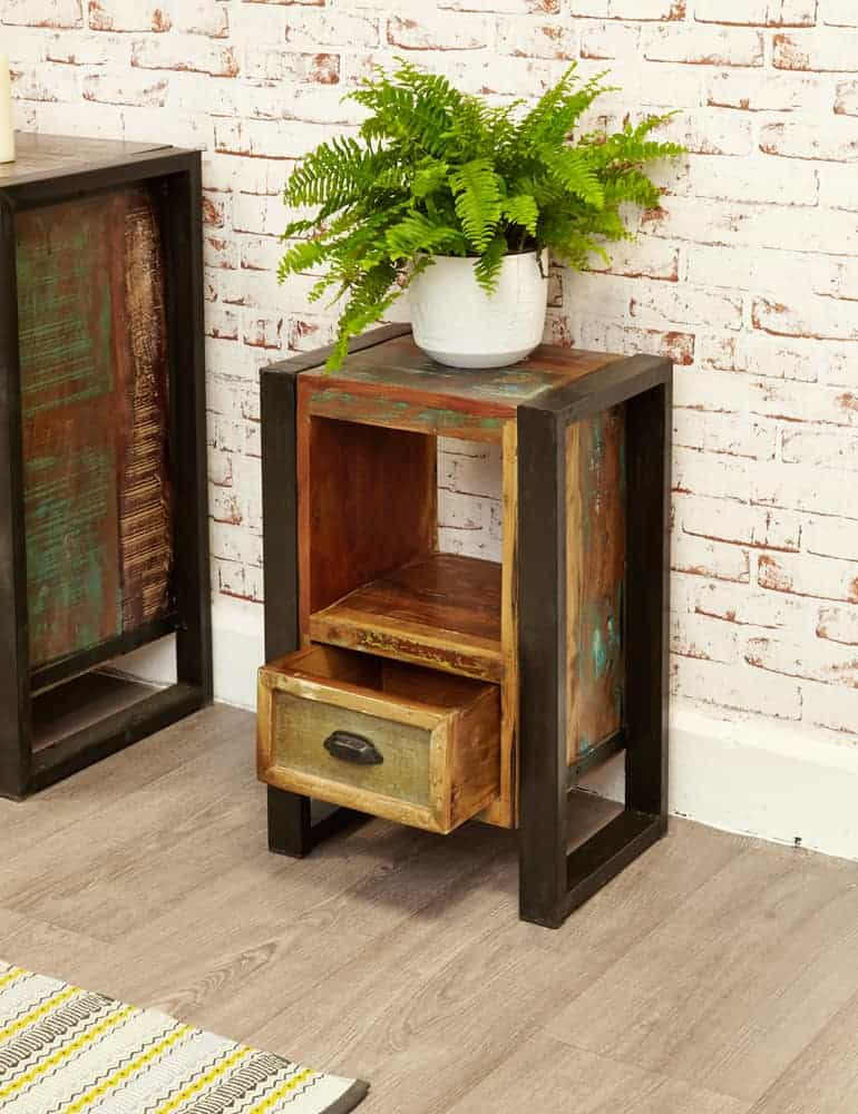 Baumhaus Urban Chic Industrial Reclaimed Wood Small Telephone Lamp Hall Console Table