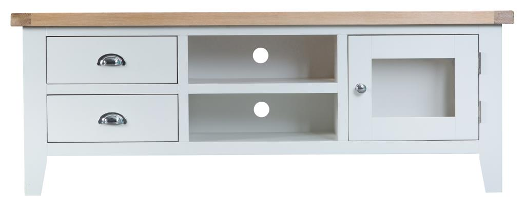 promo code d2159 5c4f8 Norfolk White Painted Chunky Oak Large LCD Plasma TV Cabinet Stand
