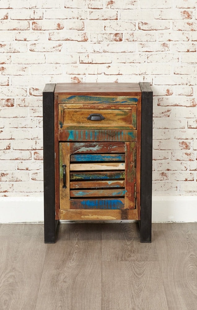 Baumhaus Urban Chic Industrial Reclaimed Wood Lamp Side Table With Door