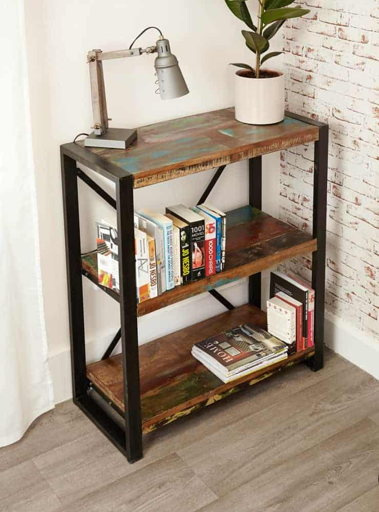 Baumhaus Urban Chic Reclaimed Wood Small Low Open Bookcase Display Unit