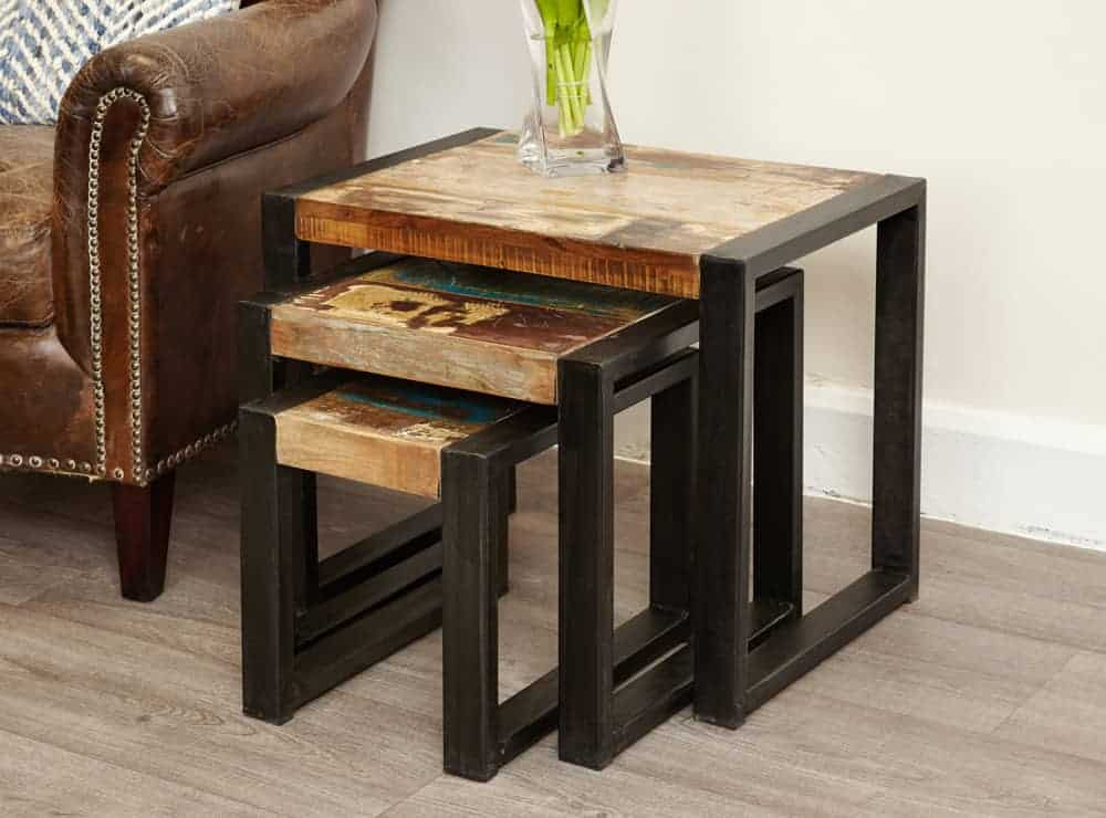 Baumhaus Urban Chic Industrial Reclaimed Wood Nest Of 3 Tables