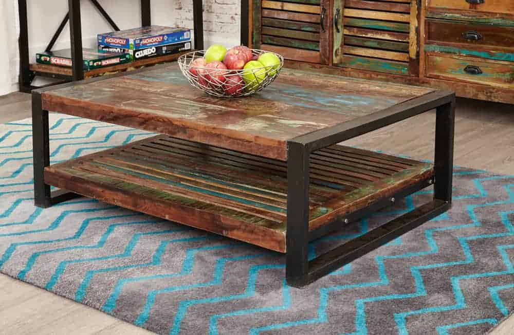 Baumhaus Urban Chic Industrial Reclaimed Wood Coffee Table With