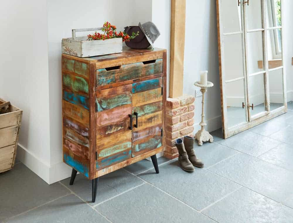 Baumhaus Industrial Reclaimed Solid Wood Shoe Cupboard Cabinet Storage Unit