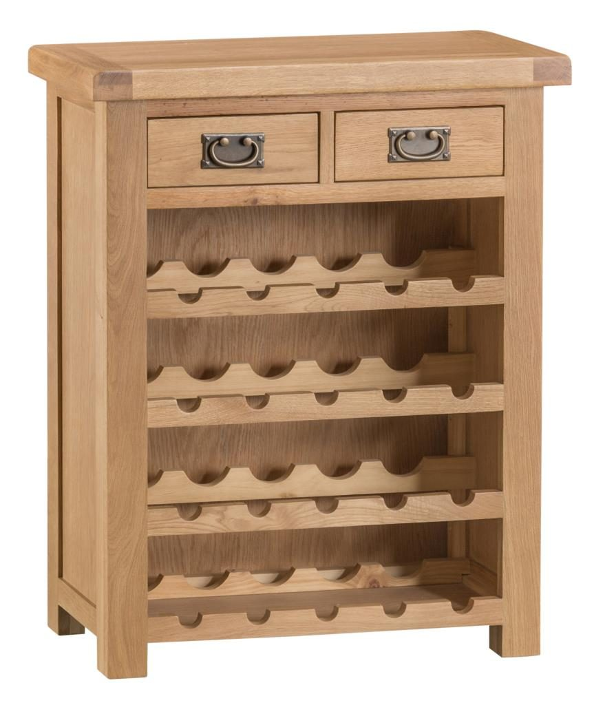 Banbury Solid Chunky Wood Rustic Oak Small Wine Rack Lamp Console Table Unit