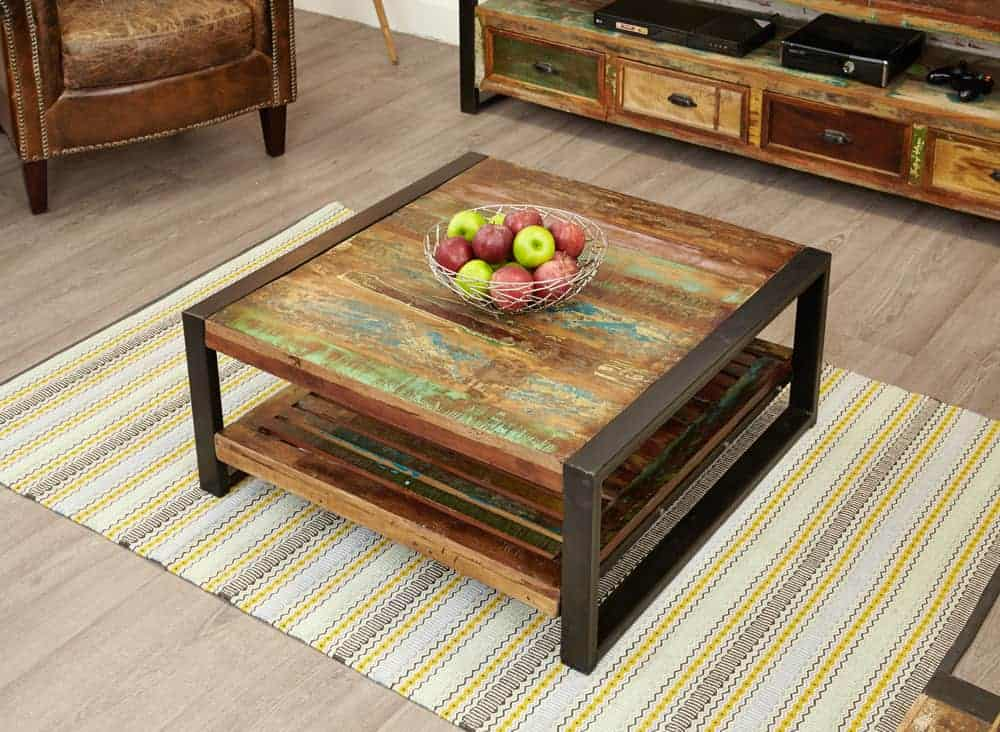 Baumhaus Urban Chic Reclaimed Wood Small Square Coffee Table With Shelf