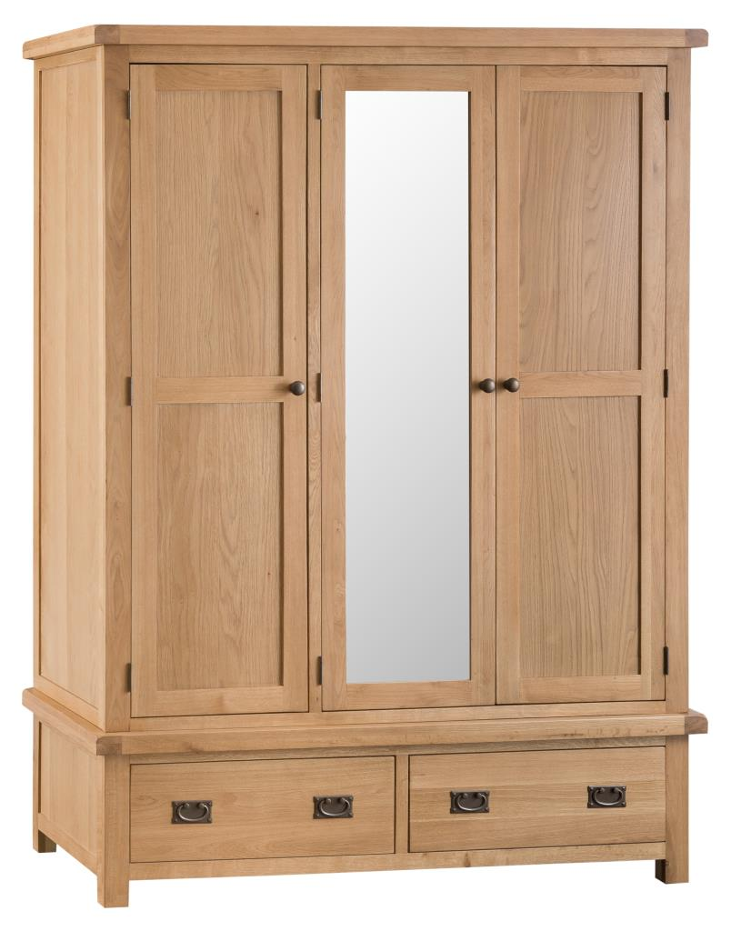 Banbury Solid Chunky Wood Rustic Oak Triple Wardrobe With Drawers And Mirror