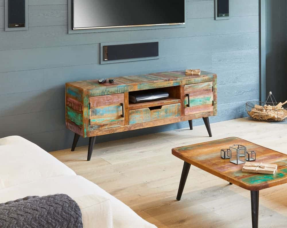 Baumhaus Industrial Reclaimed Solid Wood Large Tv Lcd  Cabinet Unit