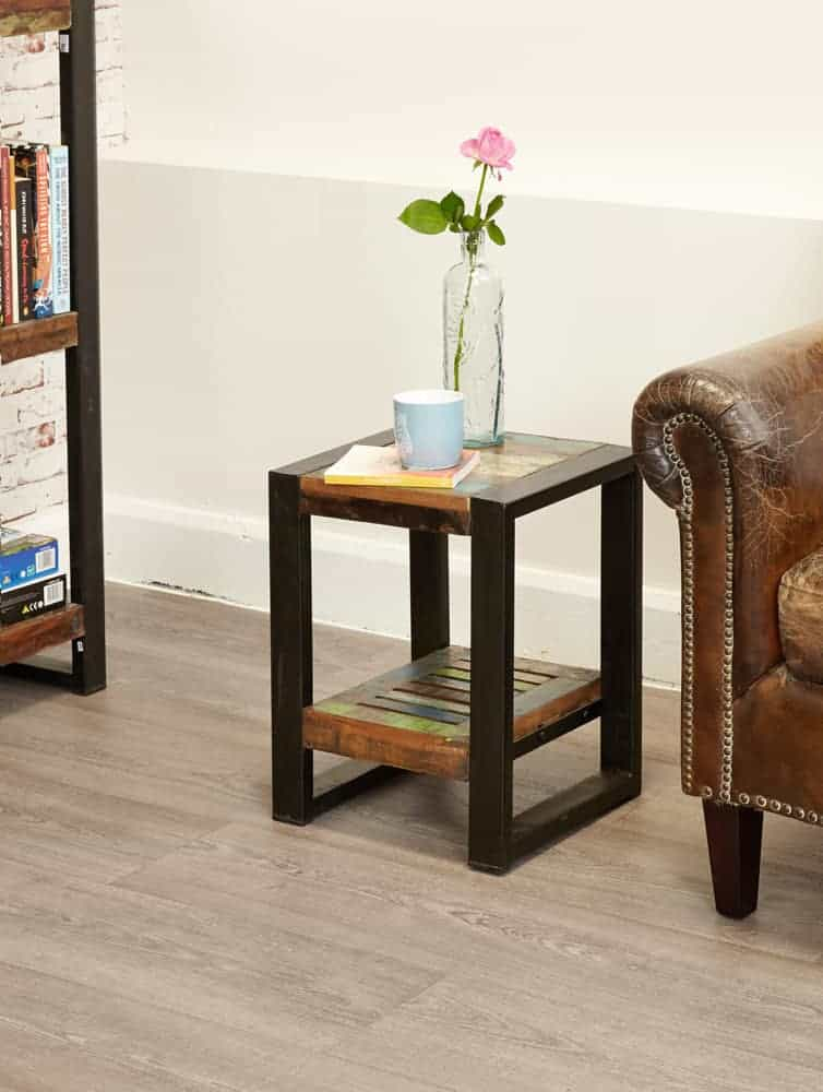 Baumhaus Urban Chic Industrial Reclaimed Wood Lamp Side Table With Shelf