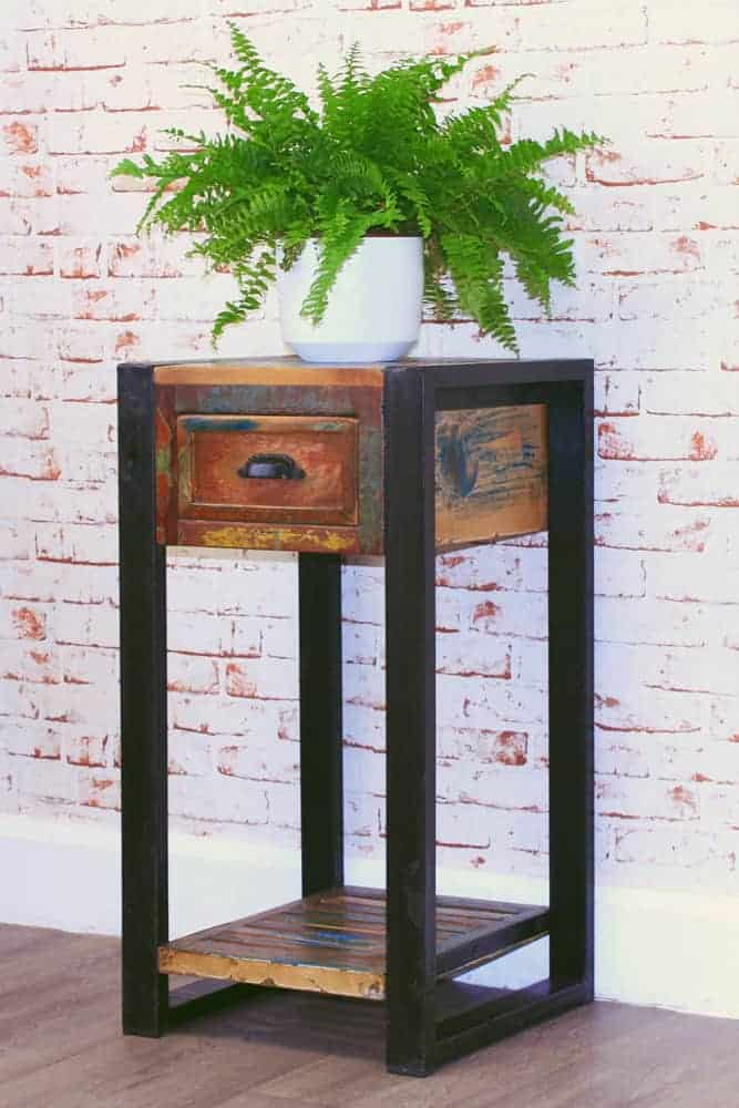 Baumhaus Urban Chic Industrial Reclaimed Wood Telephone Lamp Table Stand