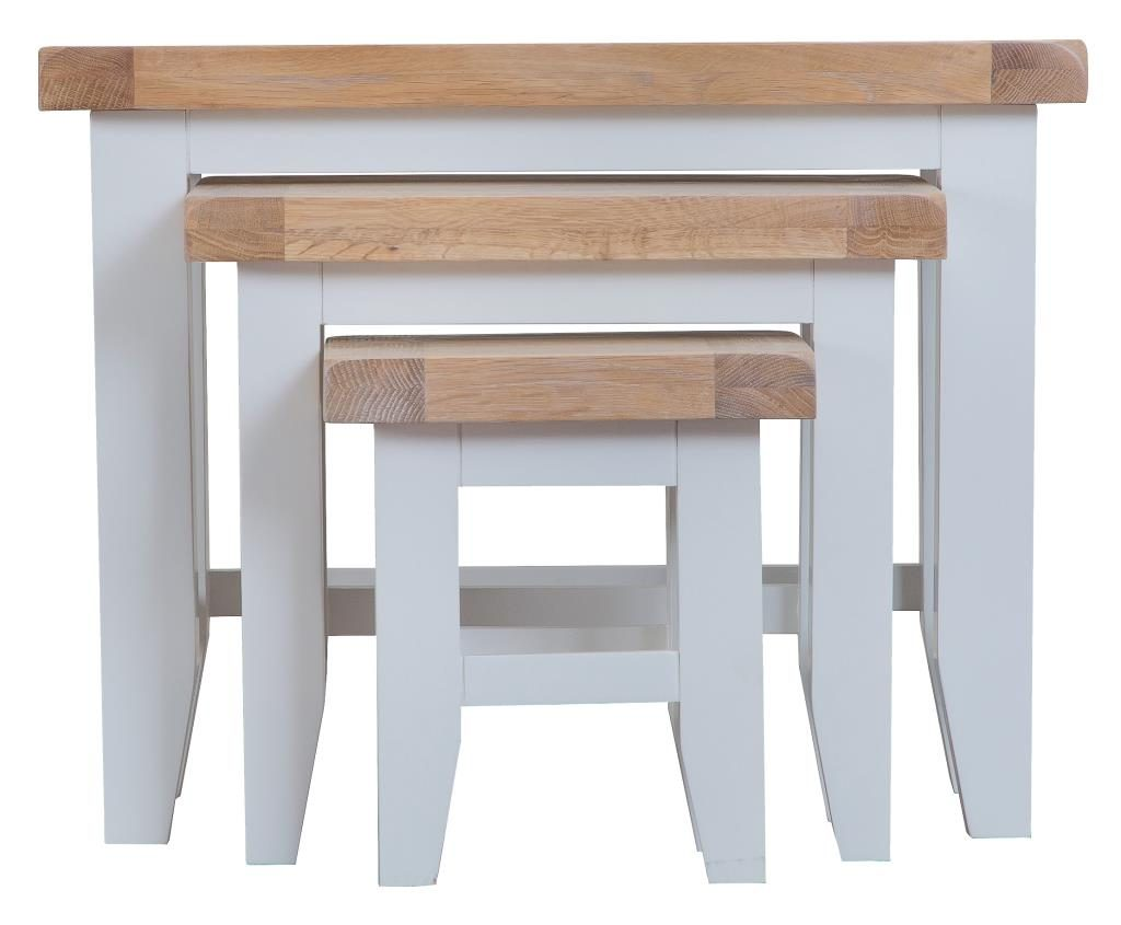 Berkshire Grey Painted Chunky Oak Nest Of 3 Tables