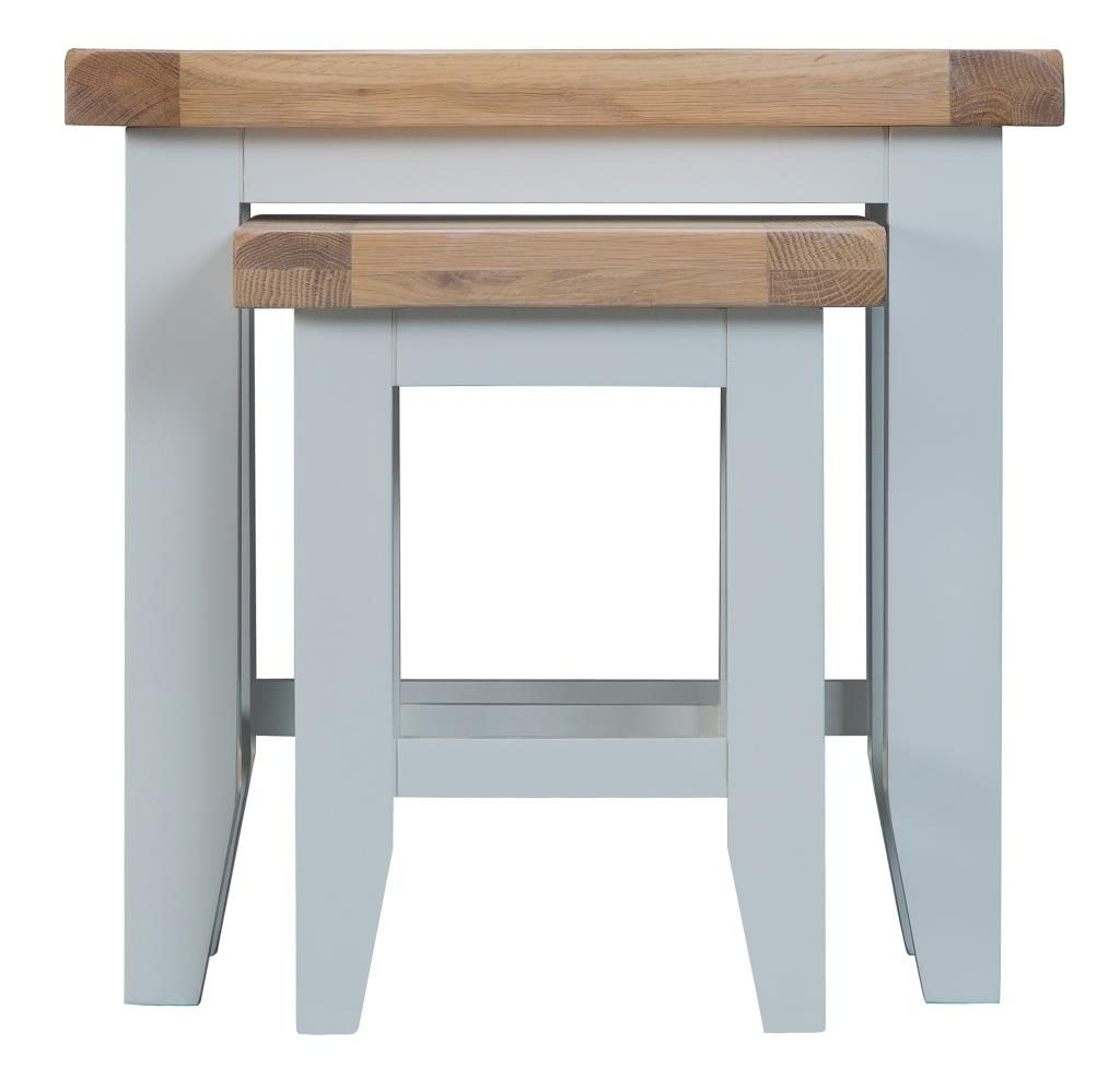 Berkshire Grey Painted Chunky Oak Nest Of 2 Tables