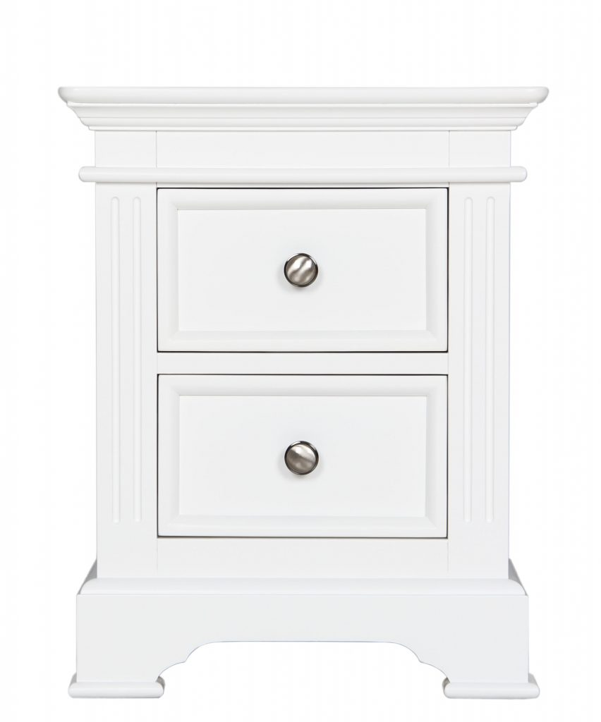 Bedford White Painted Pine 2 Drawer Bedside Cabinet Stand Unit