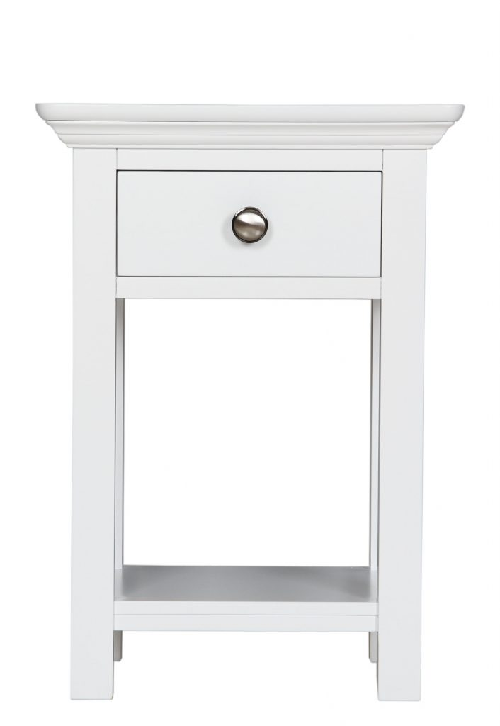 Bedford White Painted Solid Pine Bedside Cabinet Table Unit With Shelf