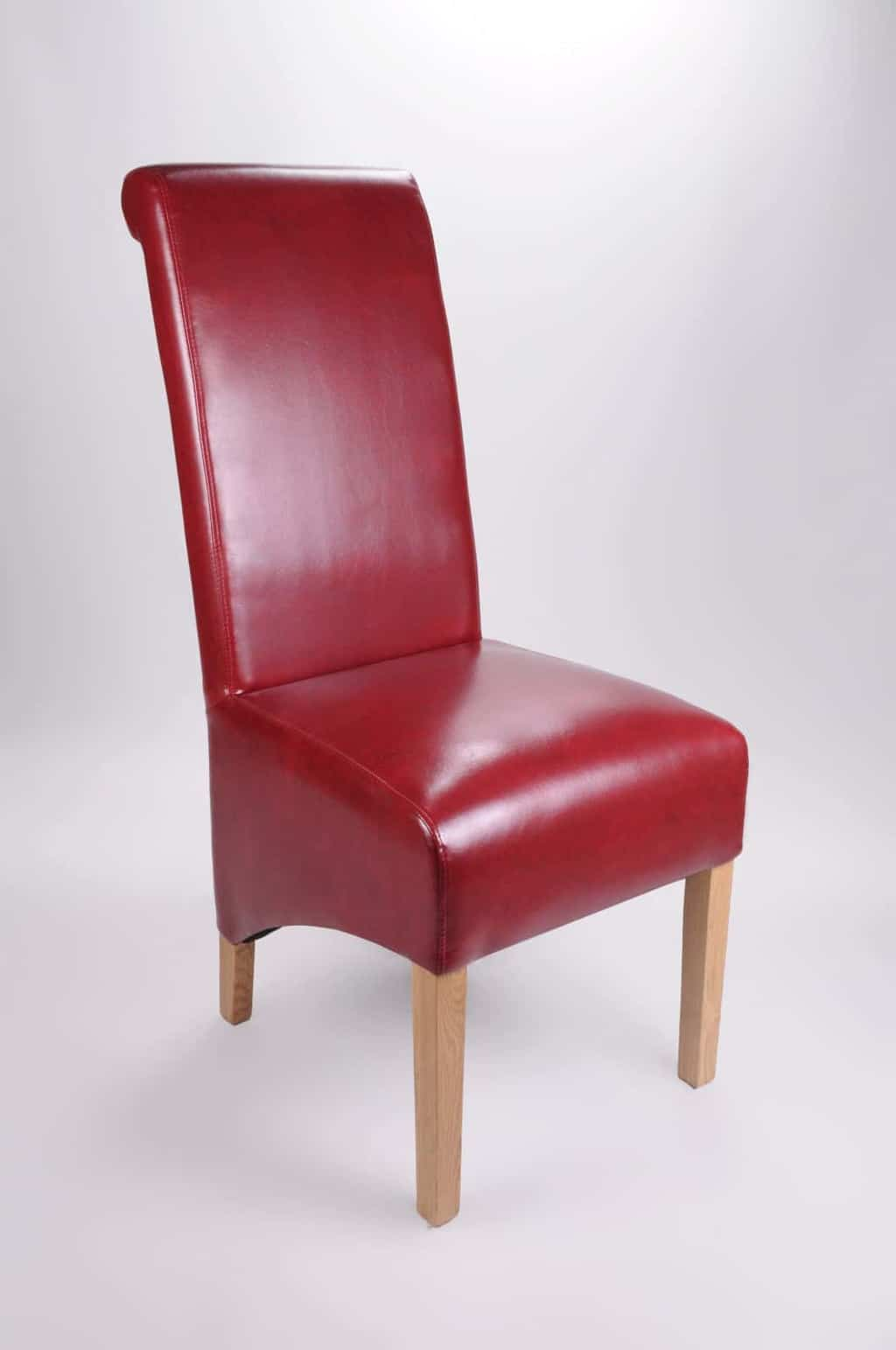 Set Of Two Bonded Leather Oak Legs Burgundy High Roll Back Dining Chairs