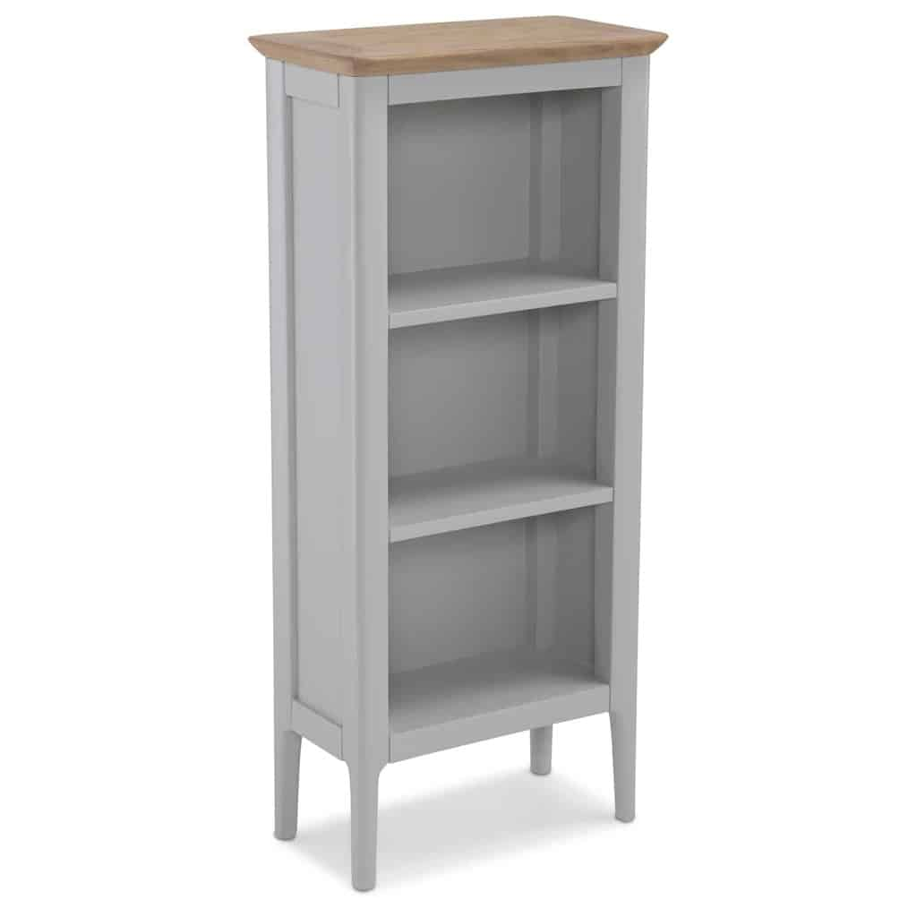 quality design cf0d6 d1977 Brompton Grey Painted Oak Small Narrow Bookcase Display Unit