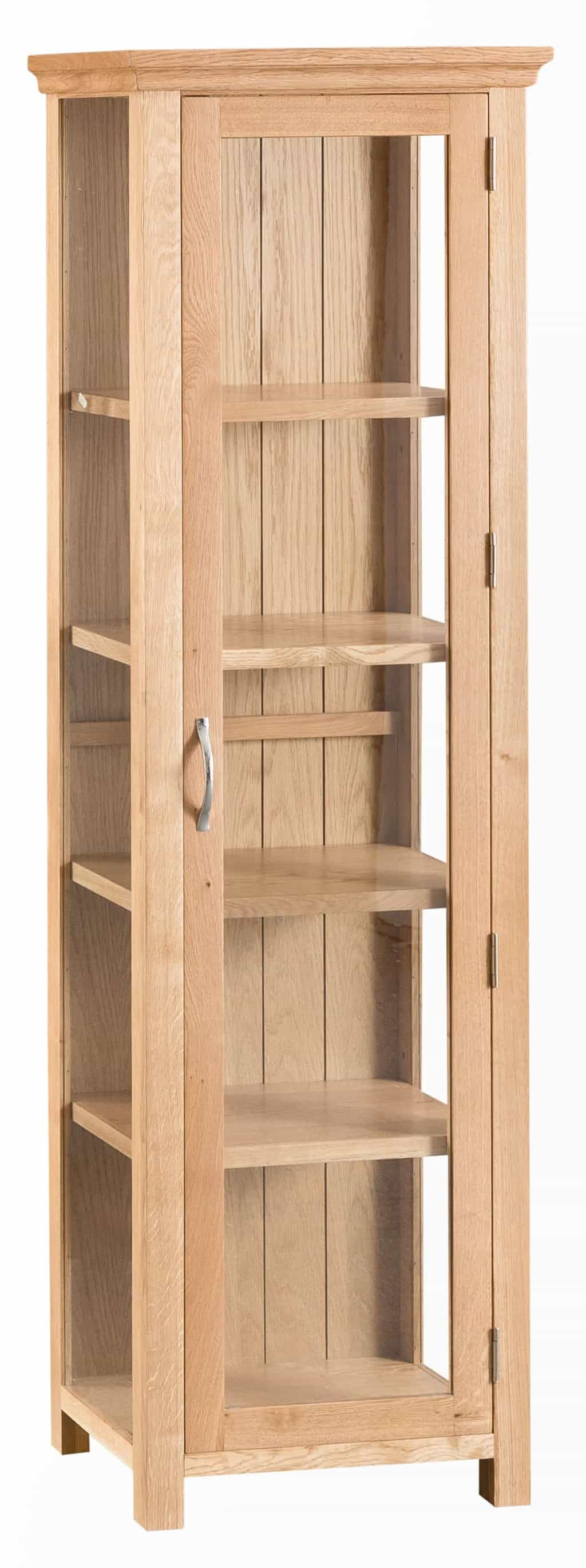 Warwick Solid Oak Narrow Slim Glass Display Cabinet Unit
