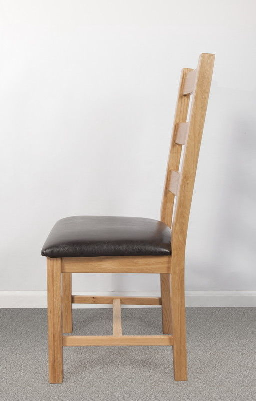 Set Of Two Solid Oak High Back Dining Chair With Brown