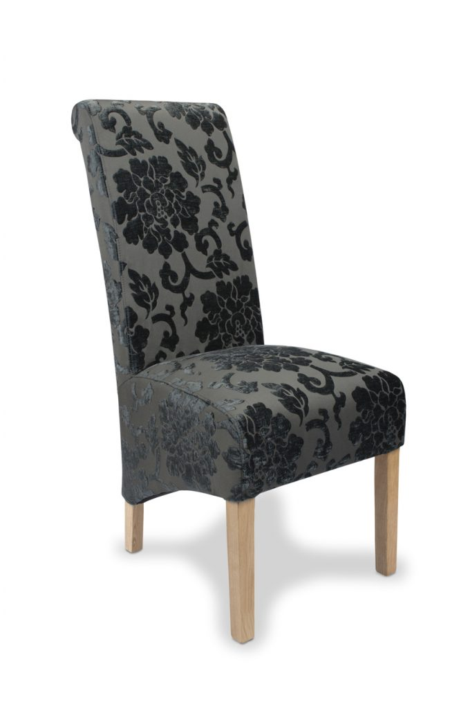 Set Of Two Krista Baroque Charcoal Fabric Dining Chair