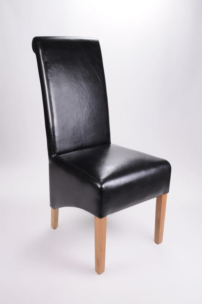 Set Of Two Bonded Leather Oak Legs Black High Roll Back Dining Chairs