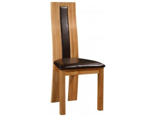 Set Of Two Solid Oak Dining Chair With Black Faux Leather Pads