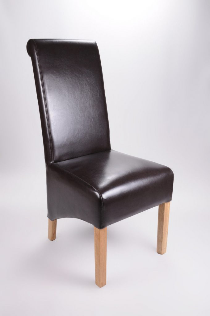 Set Of Two Bonded Leather Oak Legs Brown High Roll Back Dining Chairs