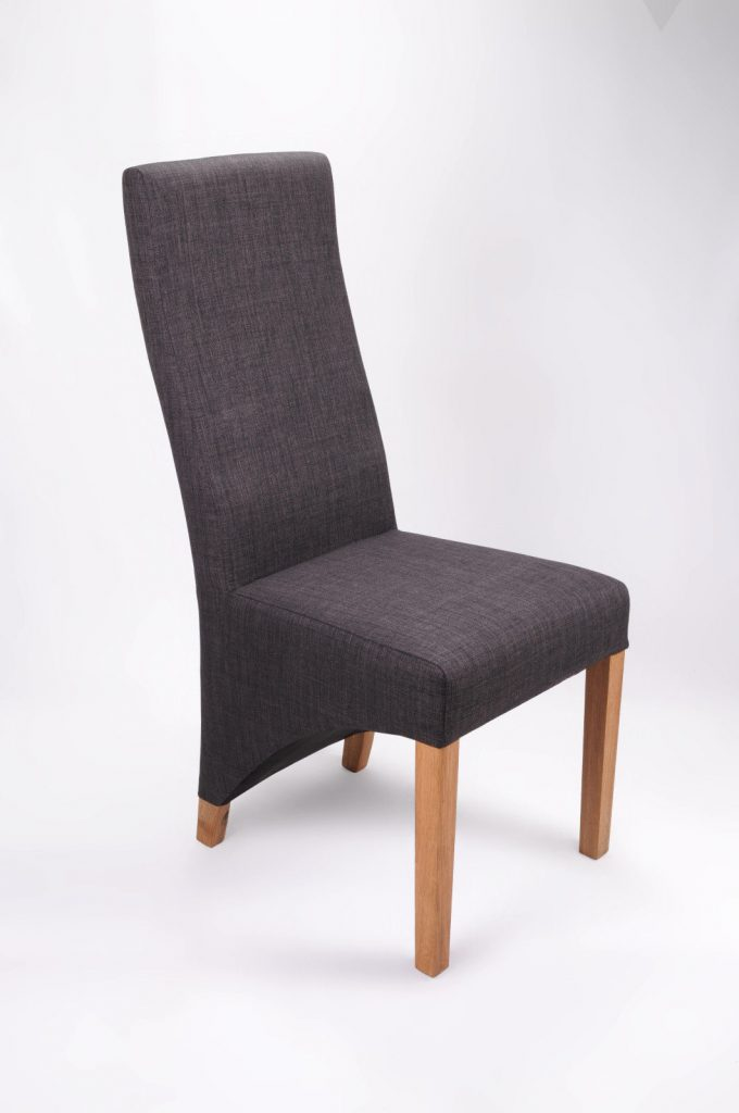 Set Of Two Solid Wood Oak Charcoal Fabric Dining Chairs