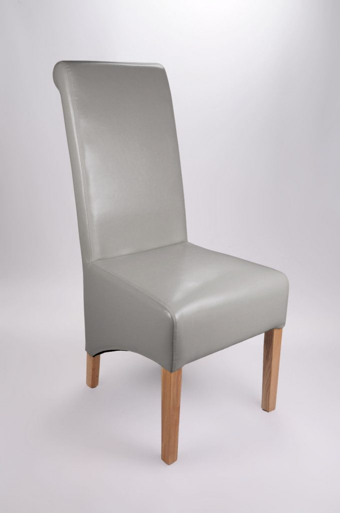 Set Of Two Bonded Leather Oak Legs Grey High Roll Back Dining Chairs