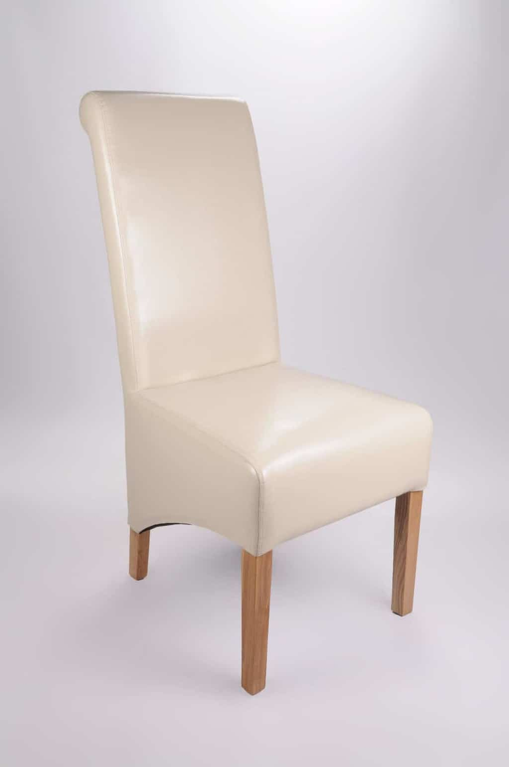 Set Of Two Bonded Leather Oak Legs Ivory High Roll Back Dining Chairs
