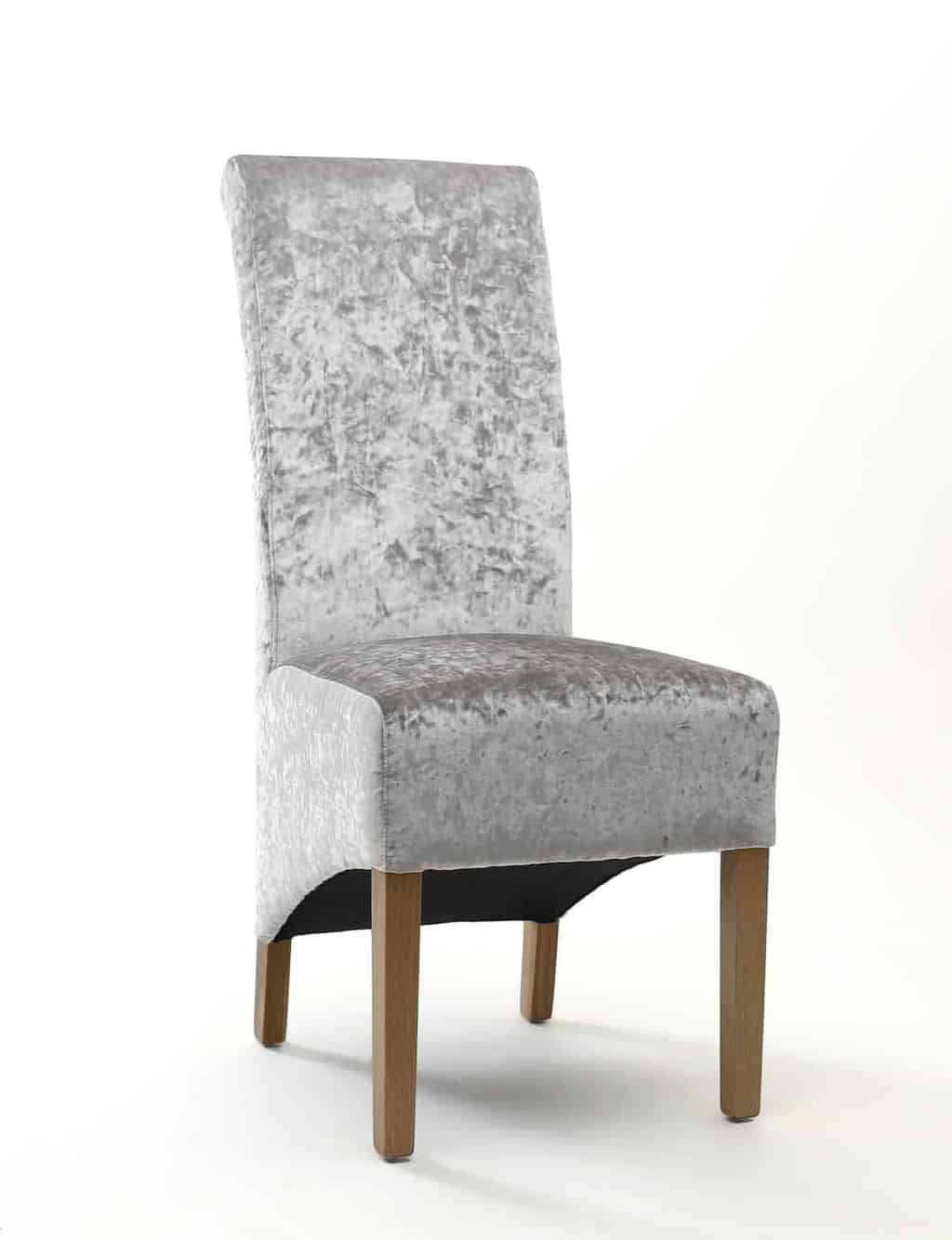 Set Of Two Krista Crushed Velvet Silver Dining Chair