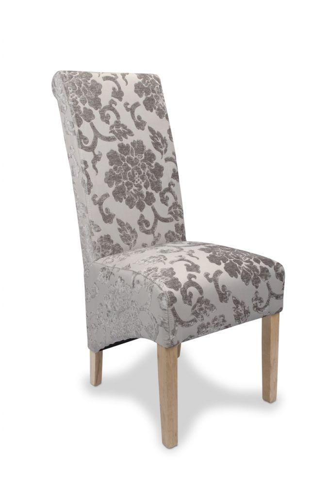 Set Of Two Krista Baroque Mink Fabric Dining Chair