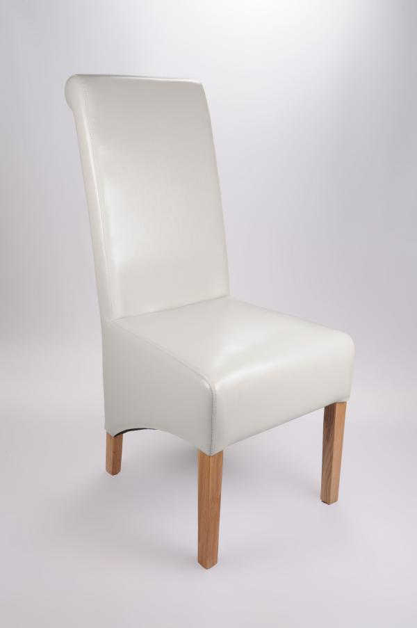 Set Of Two Bonded Leather Oak Legs White High Roll Back Dining Chairs