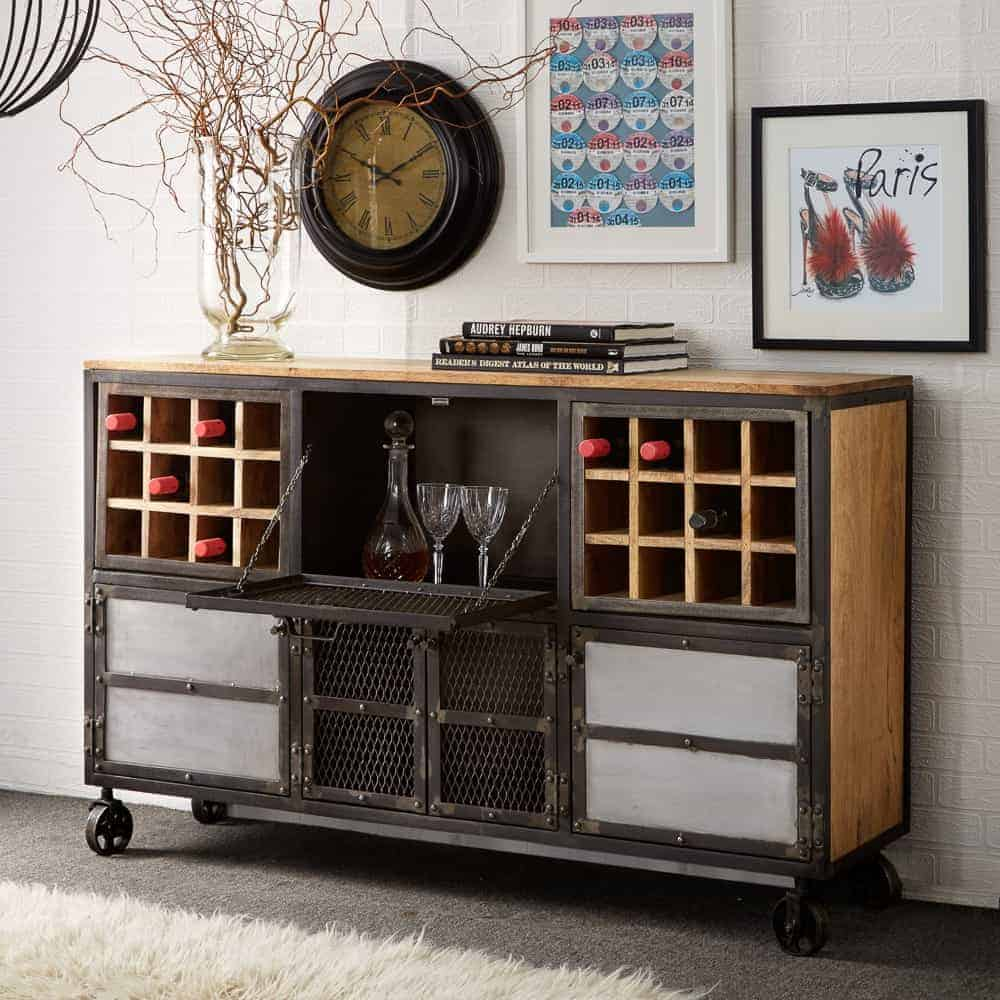 Evon Industrial Solid Wood And Reclaimed Metal Extra Large Wine Rack Sideboard