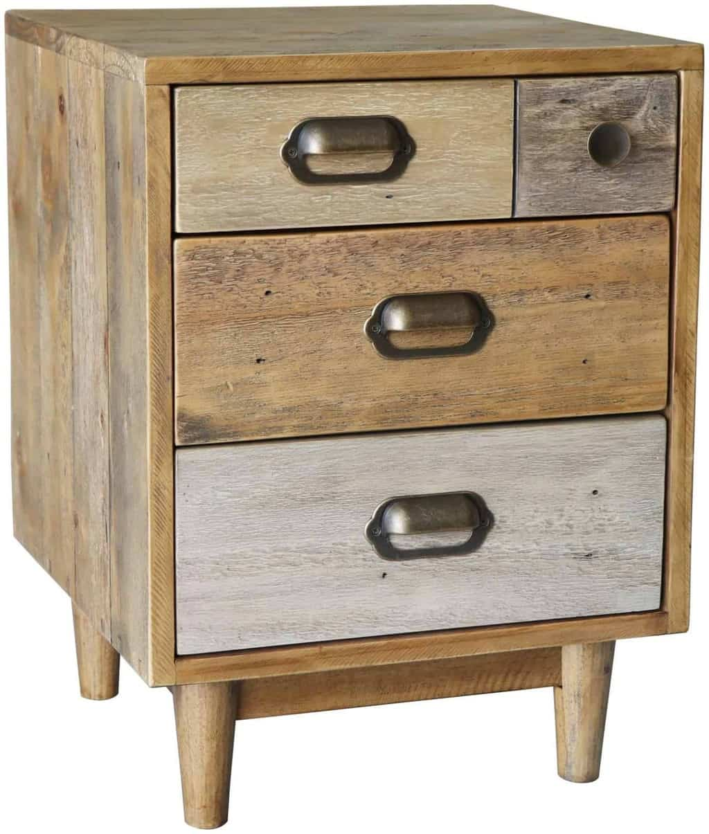 Corby Solid Reclaimed Pine Wood Bedside Cabinet Stand Unit