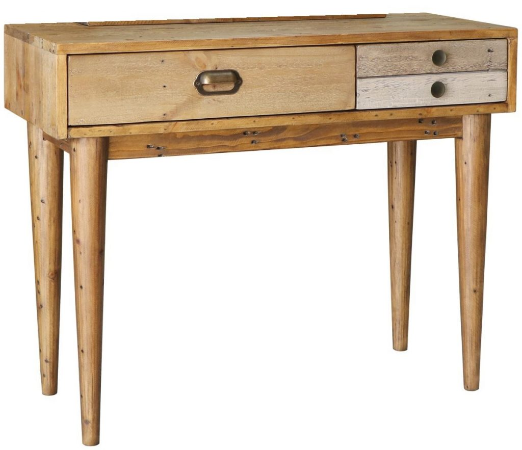 Corby Solid Reclaimed Pine Wood Dressing Table With 3 Drawers