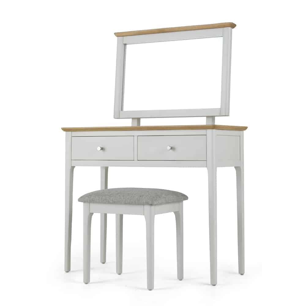 Brompton Grey Painted Oak Dressing Table Unit With Stool And Mirror