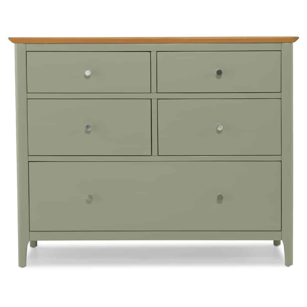 Merton Sage Green Painted Solid Oak 5 Drawer Wide Chest Of