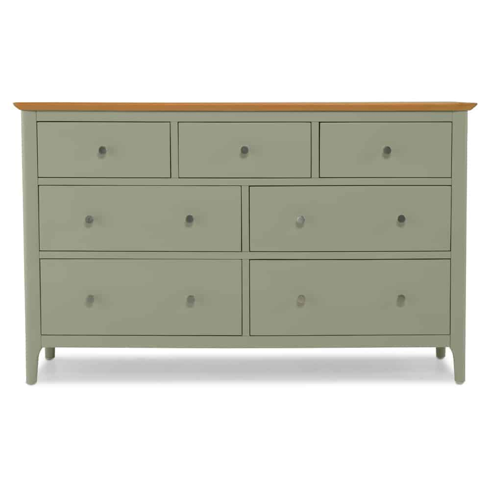 Merton Sage Green Painted Solid Oak 7 Drawer Wide Chest Of
