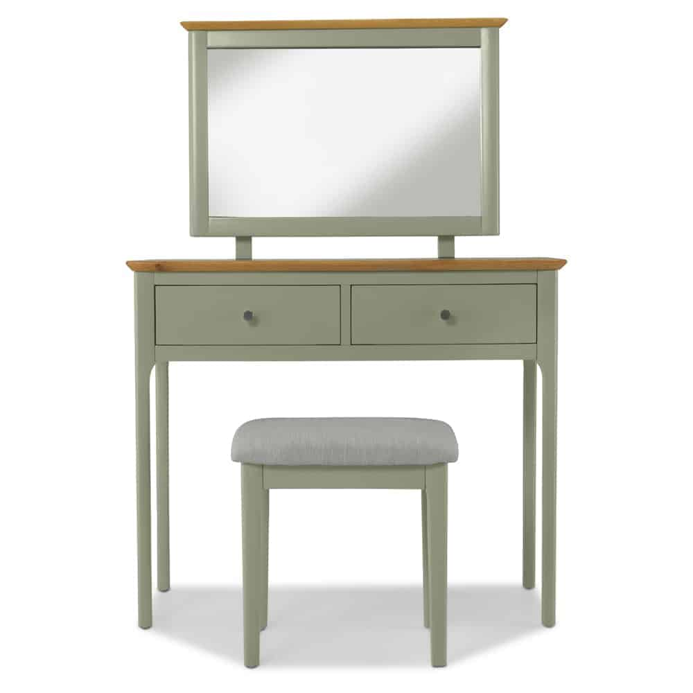 Merton Sage Green Painted Oak Dressing Table Unit With