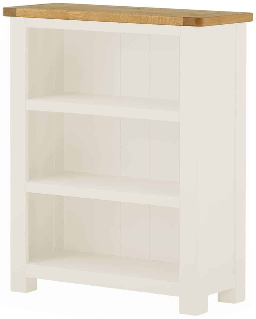 Solid Oak White Painted Small Narrow Open Bookcase Display Wickford Range