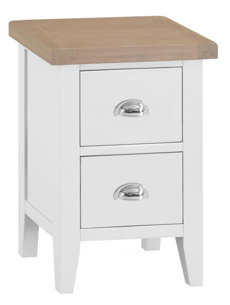 Norfolk White Painted Chunky Oak Small Bedside Cabinet