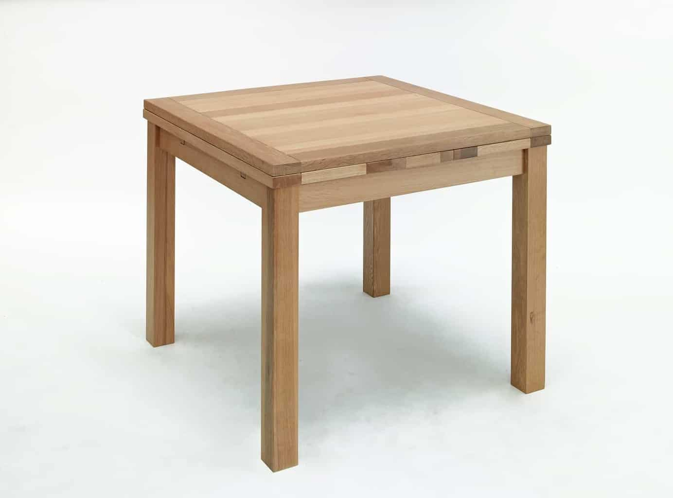 Contemporary Oak Dining Tables Extendable: Kingston Contemporary Solid Oak Small Square Extending