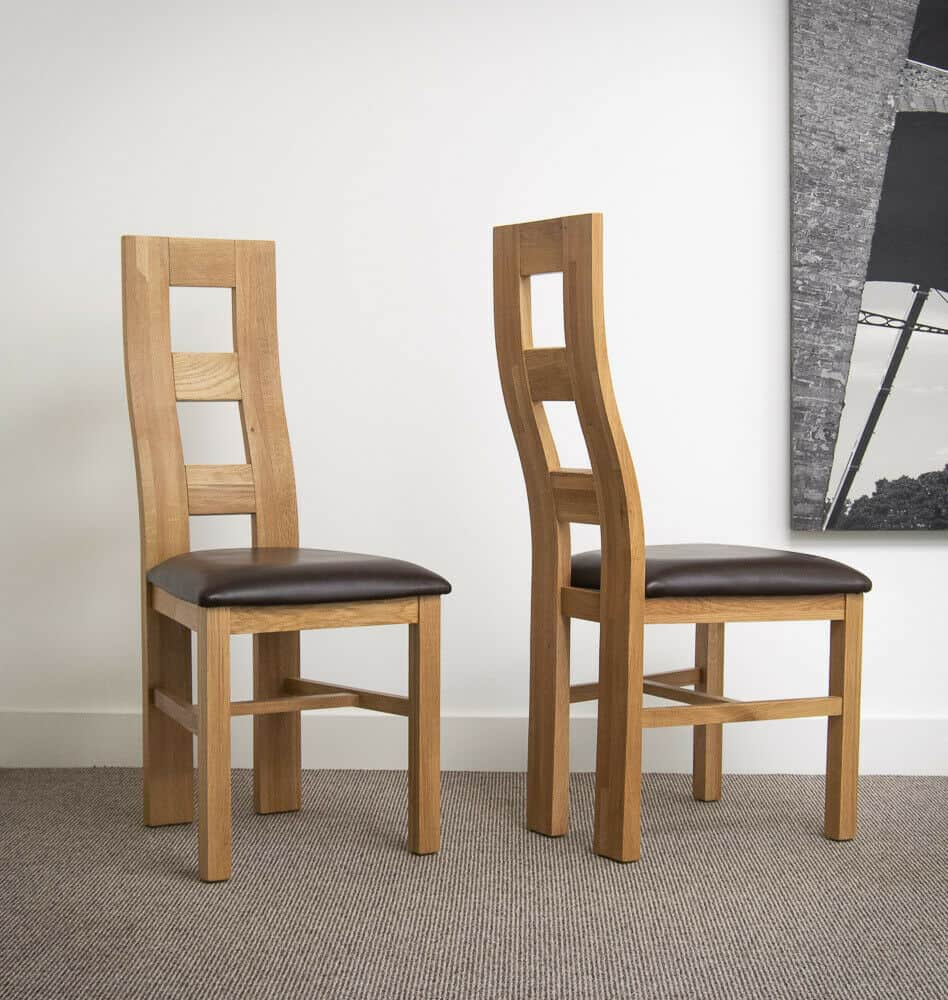 Set Of Two Solid Chunky Oak Dining Chair With Brown Bonded Leather Pads
