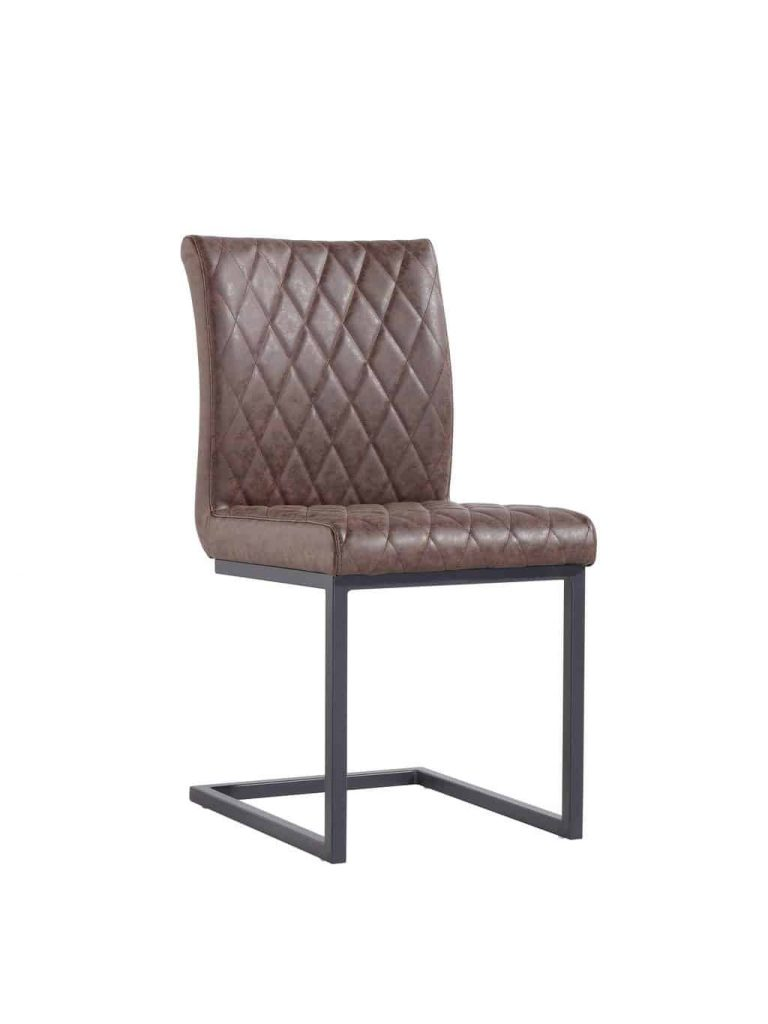 Denver Industrial Brown Bonded Leather Dining Chairs (Pair)