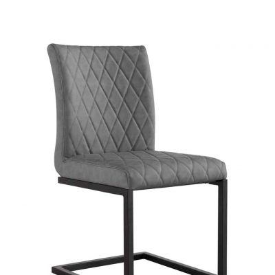 Denver Industrial Grey Bonded Leather Dining Chairs (Pair)