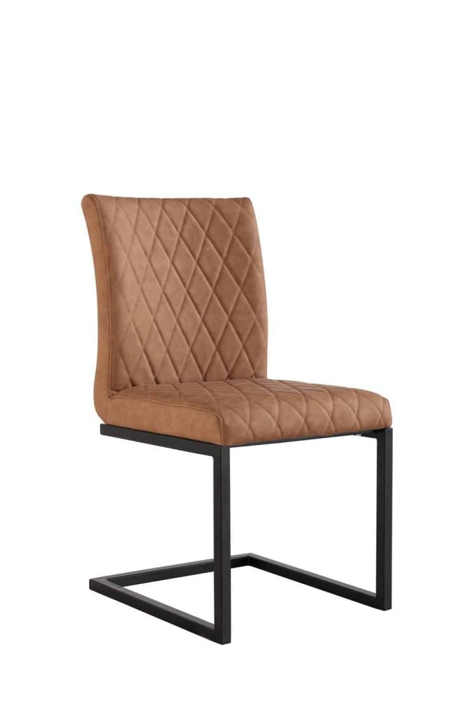 Denver Industrial Tan Bonded Leather Dining Chairs (Pair)