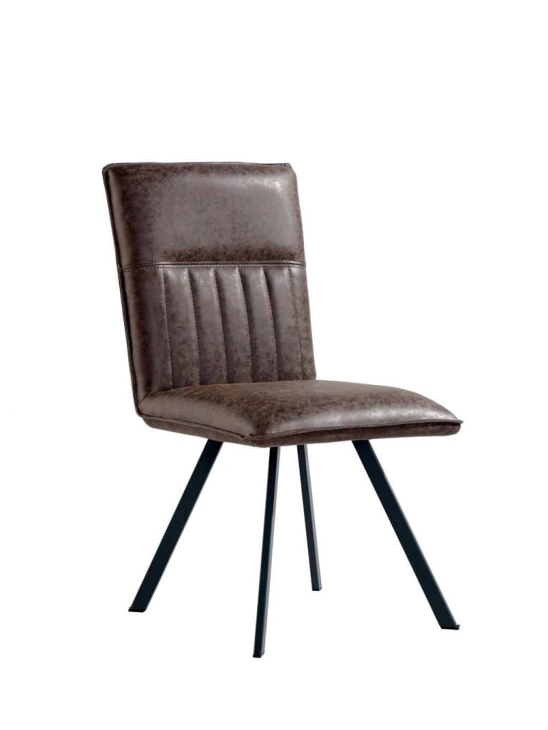 Denver Industrial Brown Faux Leather Dining Chairs (Pair)