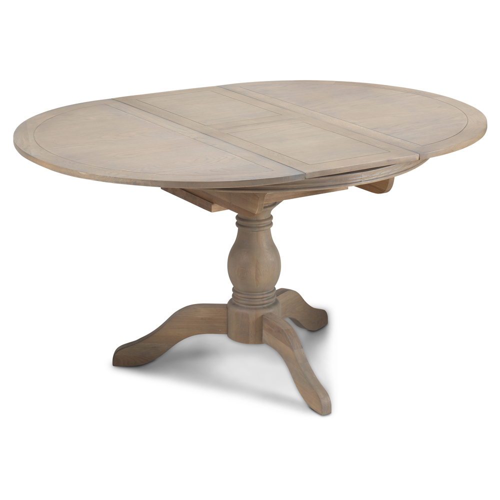 Boston Solid Chunky Medium Oak Round Extending Dining Table