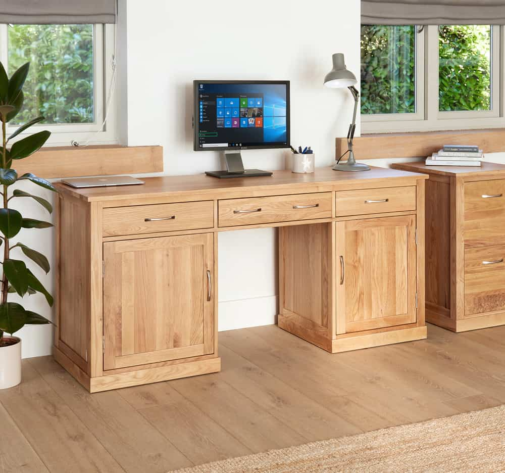 Baumhaus Solid Mobel Oak Twin Pedestal Home Office Desk